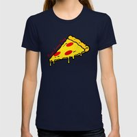 Pizza Every Day Womens Fitted Tee Navy SMALL