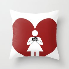 T-Shirt I Love Photography  (Girl) Throw Pillow