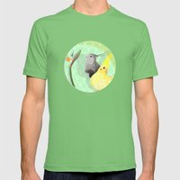 Two Cockatiels Mens Fitted Tee Grass SMALL
