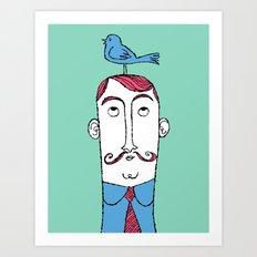 Birdie on Top (Teal) Art Print