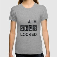 SHERLOCK I am Sherlocked Print Womens Fitted Tee Athletic Grey SMALL
