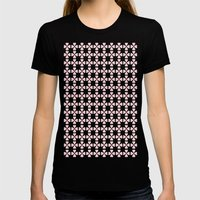 Heart Flowers Rose Womens Fitted Tee Black SMALL