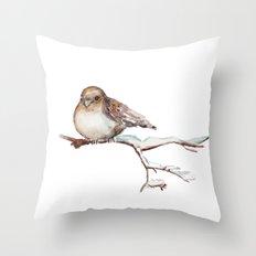 Winter Sparrow  Throw Pillow