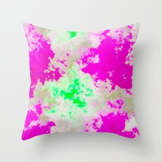 Pink Green and yellow clouds Throw Pillow