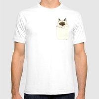 Puss in Pocket (B) Mens Fitted Tee White SMALL