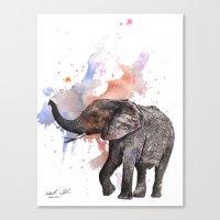 Dancing Elephant Painting Canvas Print