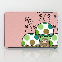 Cute Monster With Green And Brown Polkadot Cupcakes iPad Case