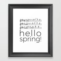 Hello spring! (white) Framed Art Print