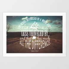 The Road Not Taken book quote Art Print