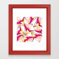 Pink gold yellow watercolor triangles pattern Framed Art Print