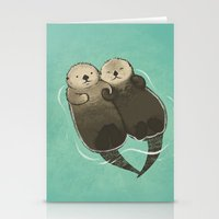 Significant Otters - Otters Holding Hands Stationery Cards