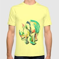 Rhino Colour Mens Fitted Tee Lemon SMALL