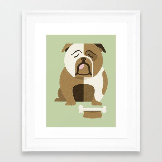 Bulldog - Green Variant Framed Art Print