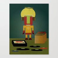 Crate digging Canvas Print