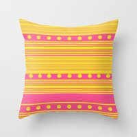 Pink and Gold Throw Pillow