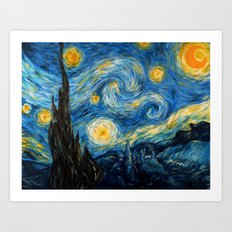 A Starry Night at Hogwarts Art Print