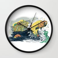 Salmon Jumping Wall Clock