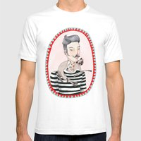 He Is A Cat Person! Mens Fitted Tee White SMALL