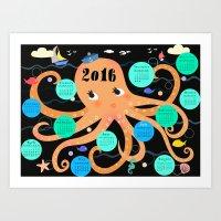 Octopus Poster Calender … Art Print
