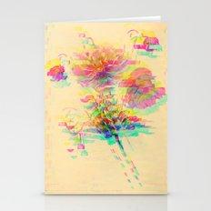 Botanical Flower Glitch Stationery Cards