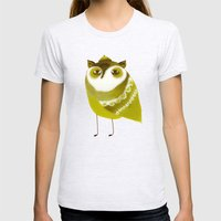 Golden Owl illustration  Womens Fitted Tee Ash Grey SMALL