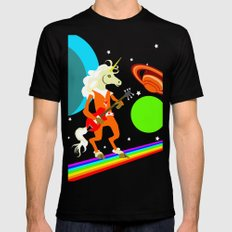 Rockin' Space Unicorn SMALL Mens Fitted Tee Black