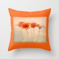 Orange Gerberas Throw Pillow
