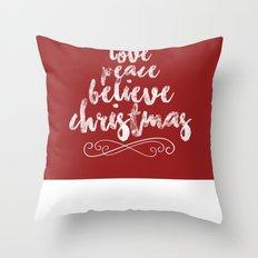Joy, Hope, Peace, Believe, Christmas Throw Pillow