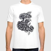 Peonies, Black & White  Mens Fitted Tee White SMALL