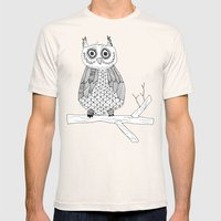 Give A Hoot Mens Fitted Tee Natural SMALL