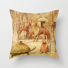 The Tortoise and the Beetle Throw Pillow