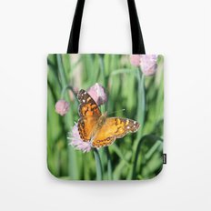 Orange Butterfly on Chives Tote Bag