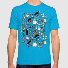 Kawaii Ghibli Doodle Mens Fitted Tee Teal SMALL