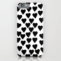 Hearts Black And White iPhone 6 Slim Case