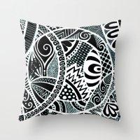 White tangled circles Throw Pillow