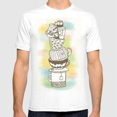 Stack O' Mugs White SMALL Mens Fitted Tee