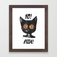 Pizza Cat Framed Art Print
