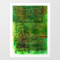 Gold caged green Art Print