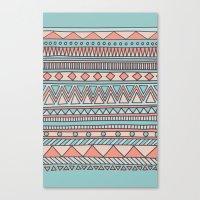Tribal #4 (Coral/Aqua) Canvas Print