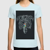 bird in a cage Womens Fitted Tee Light Blue SMALL