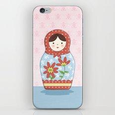 Matryoshka Doll (red & blue) iPhone & iPod Skin