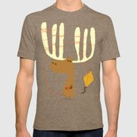 A Moose Ing Mens Fitted Tee Tri-Coffee SMALL