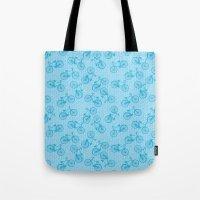 Blue Bicycle Pattern Tote Bag