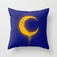 Melting Moon2 Throw Pillow