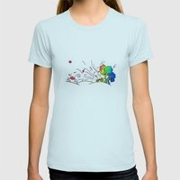 Sunny Scene Womens Fitted Tee Light Blue SMALL