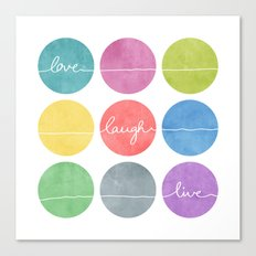 Love Laugh Live 2 (Colorful) Canvas Print