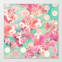 Romantic Pink Retro Floral Pattern Teal Polka Dots  Canvas Print