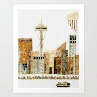 seattle Art Prints featuring SEATTLE by Susan Najarian Design