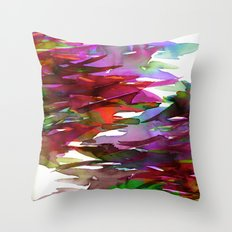 FERVOR 3 Colorful Bold Abstract Autumn Fall Crimson Red Purple Mauve Green Watercolor Painting Art Throw Pillow