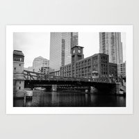 Chicago Riverwalk - Clark Street Bridge / Merchandise Mart Art Print